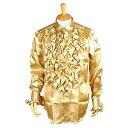 カラオケ衣装,ステージ衣装,ダンス衣装,舞台衣装,発表会,男性,メンズ(女性,レディース)【サテンフリルシャル(長袖)】(ゴールド・金)(M・L)《無料ラッピング承ります》【RCP】