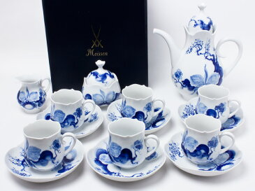 【送料無料】マイセン ブルーオーキッド コーヒーセット(コーヒーポット(L)・クリーマ・シュガーポット・コーヒーカップ&ソーサー×6セット)meissen-11-14お茶のふじい・藤井茶舗