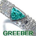 ショッピングパライバトルマリン パライバトルマリン 0.52ct ダイヤ ダイヤモンド 0.56ct 2種カット リング 指輪 Pt900/プラチナ 鑑別書/分析報告書【中古】GENJ