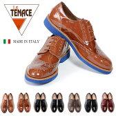 訳あり 本革 メンズ革靴 ウィングチップ ビジネスシューズ / イタリア製 La TENACE / 7種類ブラック ブラウン