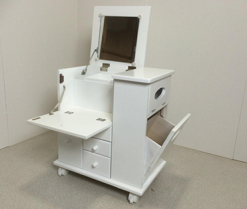 木製ドレッサー 多機能化粧台 コンパクトタイプ キャスター付き ホワイト