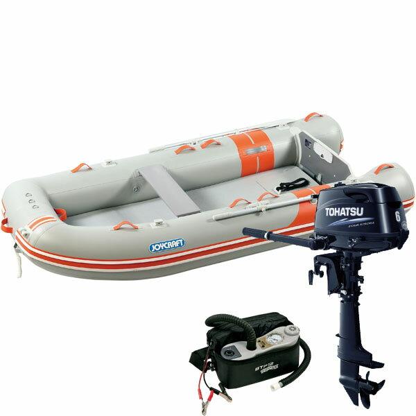 ジョイクラフト(JOYCRAFT) 5人乗りゴムボート オレンジペコ323ワイド(予備検査付)+トーハツ6馬力4ストローク船外機セット