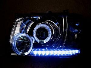 ハイエース 200系 1型2型対応LEDイカリングリング付プロジェクターヘッドライト クリスタル