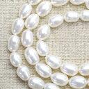 【ネコポス可】フレッシュウォーターパール(淡水真珠) ホワイト ライス 6×8mm 1連(約45個)