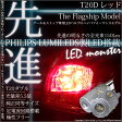 ☆T20D PHILIPS LUMILEDS製LED搭載 LED MONSTER 150LM ウェッジダブル球 LEDカラー:レッド 1セット2個入  品番:LMN104 【あす楽】