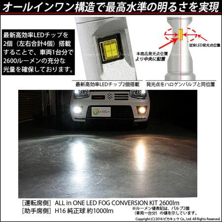 ☆オールインワンLEDフォグランプコンバージョンキット明るさ:全光束2600ルーメンLEDカラー:ホワイト6500kバルブ規格:H8/H11/H16兼用ALLINONELEDFOGLAMPCONVERSIONKIT
