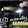 【前照灯】ダイハツ コペン ローブ/エクスプレイ [LA400K]対応 LED MONSTER L4600 LEDハイビームライト LEDカラー:ホワイト6600K バルブ規格:H9【5%OFFクーポン使える】【あす楽】