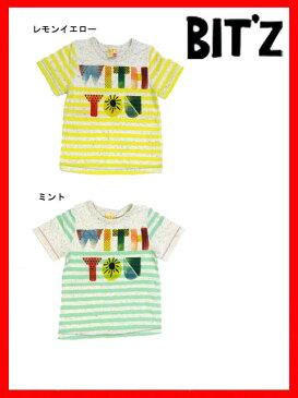 セール45%OFF[メール便送料無料]bit'z(ビッツ)ボーダー水彩ロゴプリントTシャツ