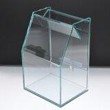 アクリルスライド募金箱/貴名受/ガラス色/鍵付/幅:12cm/奥行:9.7cm/高さ:17.9cm【RCP】 P06Dec14