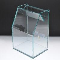 アクリルスライド募金箱ガラスエッジ鍵付
