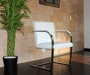 ブルーノチェア/イタリアンレザー本革仕様/カラー:ホワイト/ミース・ファン・デル・ローエ作 新品 Brno Chair Italian leather ダイニングチェア パーソナルチェア カウンターチェア いす 椅子 イス 一人用