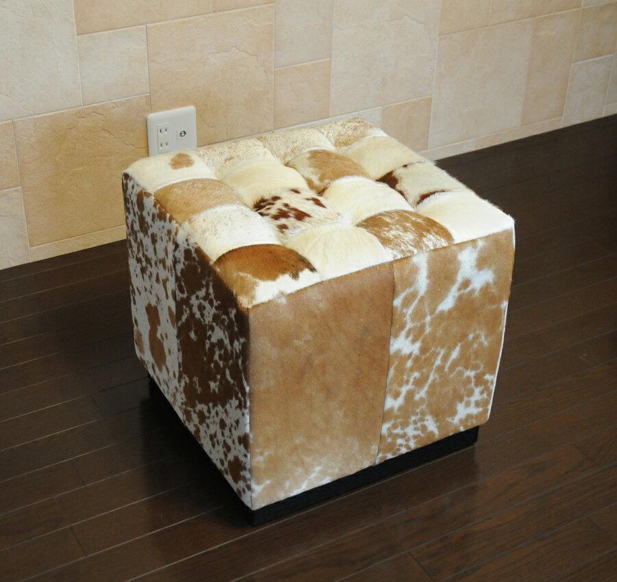 バルセロナ キューブ /ポニースキン/ブラウン×ホワイト//ミース・ファン・デル・ローエ作/新品/パーソナルチェア カウンターチェア スツール いす 椅子 イス 一人用
