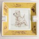 【新古品】 エルメス HERMES アッシュトレイ 灰皿 スコッシュテリア 犬 陶器 インテリア ホワイト イエロー 白 黄色 p2020071474