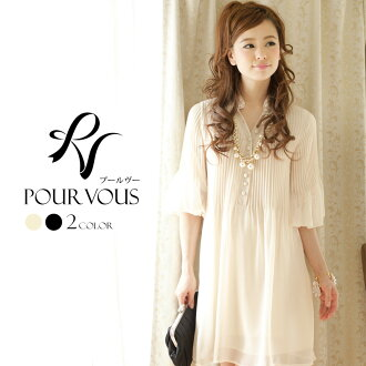 PourVous original wedding parties dress dress-チュニックワンピ シフォンワンピース-party dress adult invited formal party medium dress 556 autumn new larger size