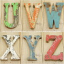 木製 アルファベット 切り文字 オブジェ 『UVWXYZ』 高さ18cm ボート再生家具 イニシャル インテリア 無垢材 古材 リサイクルウッド リユース木材