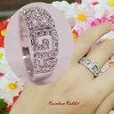 指輪 18K K18 18金 RGP プラチナ CZ ダイヤ 幸せ 雷 模様 ワイド リングyu1071e 誕生日 記念 ギフト 季節 オシャレ