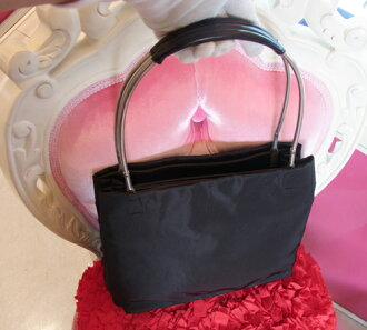 k★ PRADA shoulder handbag black stainless steel steering wheel ★【 used 】