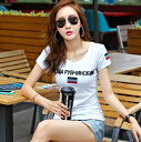 レディース カラーストーン付トップス プリントTシャツ 半袖 S-2XLサイズ 新品未使用品 t-003△△v-gtcf19-759 bm