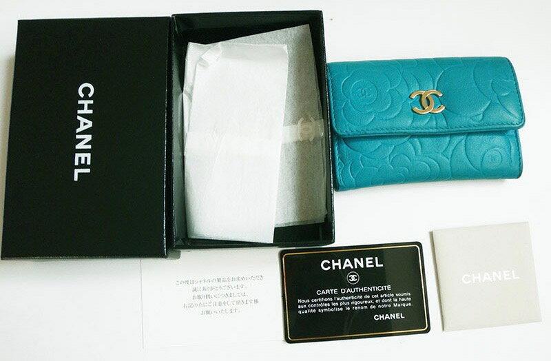 CHANEL シャネルカードケース シャネル カメリア カードケース 名刺ケース レザー ブルー【中古】c-002 c17-4561◆◆