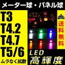 送料無料 T3 T4.2 T4.7 T5 T6 メーター球 パネル球 シガー LED ホワイト ブルー レッド アンバー グリーン ピンク ウィンカー【メール便配送商品】