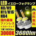送料無料 LED イエロー フォグランプ H8/H9/H11/H16/HB4 3600ルーメン 3000k ファンレスバルブLEDフォグランプ LEDフォグ イ...