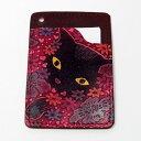 オール手染めパスケース 花畑猫(赤) 及川浩 猫のパスケース |CATWALK OIKAWA 及川浩| 猫グッズ 猫雑貨 猫 ねこ|パスケース 定期入れ|