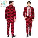 ハートマーク バレンタイン メンズ スーツ セット 仮装 コスプレ コスチューム おもしろ お笑い HEARTS MENS SUIT