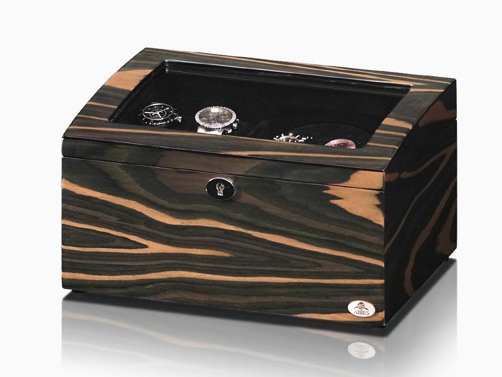 【あす楽対応】ワインディングマシーン 2本巻 エボニー 天然木使用 黒檀 限定仕様 Abies(アビエス) ウォッチワインダー マブチモーター ワインディングマシン 2連 腕時計 自動巻き ウォッチケース 時計ケース ワインダー