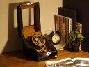 ワインディングマシーン 2本巻 ブラック × キャメル Abies(アビエス) 2連 腕時計 自動巻き ワインディングマシン ウォッチケース 時計ケース ワインダー ギフト 時計 収納ケース メンズ レディース ケース スタンド プレゼント