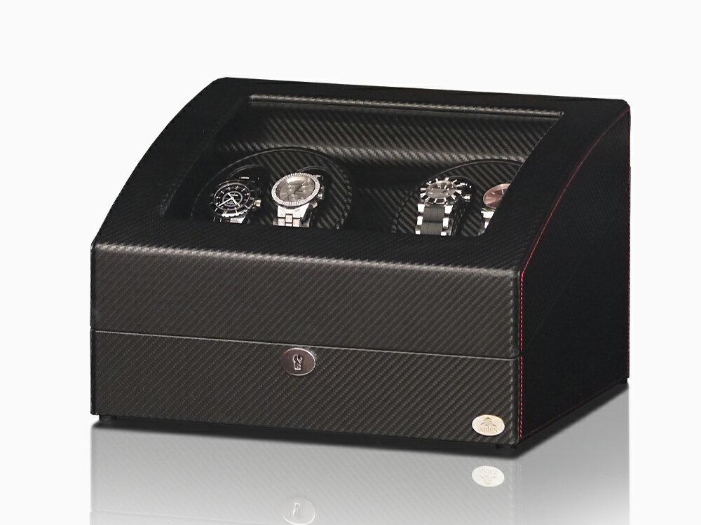 【あす楽対応】ワインディングマシーン 4本巻 カーボン調 Abies(アビエス) 限定仕様 ワインダー ウォッチワインダー マブチモーター 4連 ワインディングマシン 腕時計 自動巻き ウォッチケース 時計ケース  05P02Mar14