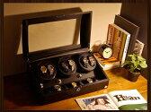 ワインディングマシーン 6本巻 カーボン調 Abies(アビエス) ウォッチワインダー マブチモーター 6連 腕時計 ワインディングマシン 自動巻き ウォッチケース 時計ケース ワインダー