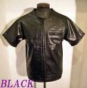 ライダース本革パンチングレザー半袖ZIPP-UPシャツ BLACK-Lサイズ