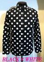 ショッピングモード 日本製 ドット柄シャツ 水玉模様 ボタンダウン 白×黒 メンズ ドレスシャツ MADE IN JAPAN
