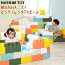 【在庫有り】HAENIM TOY マカロン ビッグ ブロック 74ピース セット 積み木 大きい ブロック カラフル カラーブロック おもちゃ 玩具 オモチャ パズル 知育玩具 お家 プレイハウス ドア付 ハウス キッズハウス おしゃれ 屋内 室内 韓国 子供 遊具