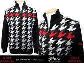 タイトリスト 千鳥柄蓄熱ジップセーター TWMK1488 【Titleist/メンズゴルフ/ゴルフウエア/ポロシャツ/男性用】