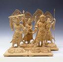 柘植製 四天王像 33cm 四体セット 木彫り 仏像 四天王 極上彫り 四天王