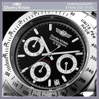 Charles Hagel Charles-Holger /Charles Vogele / analog quartz movement / watch list watch list ( watch ) / 10 pressure waterproof / made in Japan quartz movement / men's / men's / Jet Black x stainless steel, platinum silver x wine, red /CV-7873-3 fs2gm