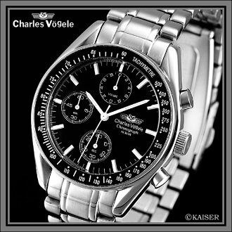Charles Hagel Charles-Holger /Charles Vogele / chronograph analogue / made in Japan quartz movement / watch / tachymeter / 10 ATM water resistant / stainless steel / Jet Black x-stainless steel-Silver + snow white /CV-7991-3 fs2gm