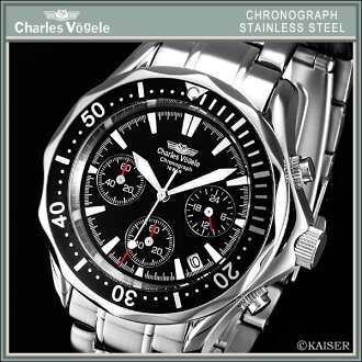 Charles Hagel Charles-Holger /Charles Vogele / chronograph / analog / made in Japan quartz movement / watch / rotating bezel / 10 ATM water resistant / stainless steel / Jet Black x-stainless steel-Silver + snow white /CV-7995-3 fs2gm