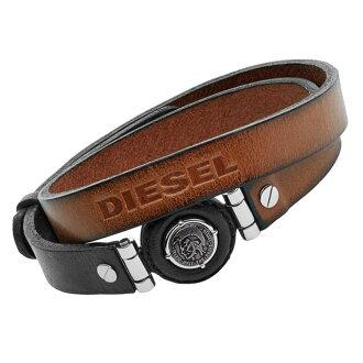 柴油柴油 DX1021040 井皮革包 2-男式手鏈好皮革銀不銹鋼牛仔品牌排名流行品牌新新聖誕禮物
