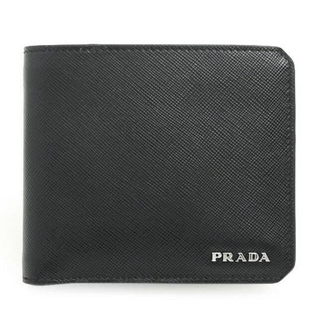 969a8cd165 プラダ PRADA 二つ折り財布 小銭入れ付き コインケース付き ブラック+ ...