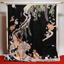 振袖 送料無料 フルオーダー手縫いお仕立て込み 京都 染の北川 謹製 流水に花々 御振袖  黒色