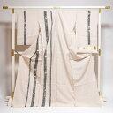 夏訪問着 フルオーダー手縫い単衣お仕立て付き 夏物キモノ 長野県上田紬 夏上布・夏ばしょうの訪問着 染め柄 ごく薄ベージュ/染め疋田に蔓草