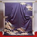 藤井寛 訪問着 送料無料 フルオーダー手縫いお仕立て付き 皇室献上作家藤井寛氏作 青紫系色 雲取りに花々 身長174cmまで、裄71.5cmまで 通年の着用可