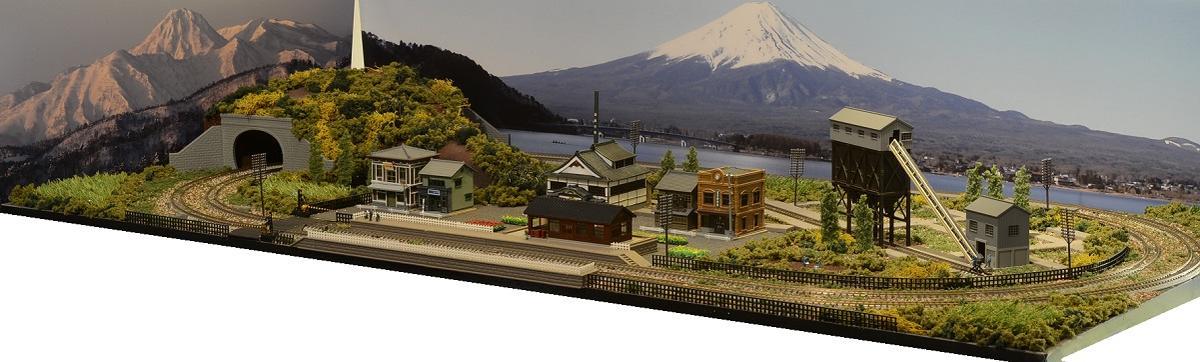 「送料込」鉄道模型ジオラマレイアウトNゲージ用 複線[120cm×60cm]昭和の町並み 非電化●注文製作●120x60−1