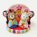 ガーデンマスコット おひなさまノーティー ひな台・ウサギ・クマ 3個セット (ナチュラル雑貨 ガーデン マスコット Natural雑貨 GARDEN) お花見・おひなさま