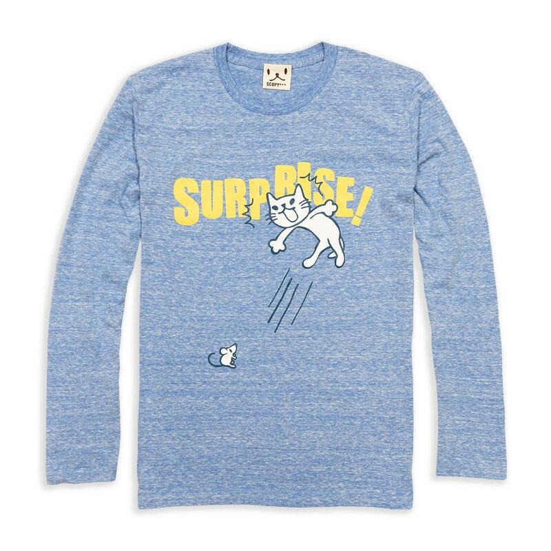 【 在庫限り 】 猫 ねこ ロンT SURPRISE! ( ヘザー ブルー ) | ネコ 猫柄 猫雑貨 | メンズ レディース 長袖 Tシャツ トップス | かわいい おしゃれ 大人 ペアルック お揃い プレゼント | 大きいサイズ | SCOPY / スコーピー
