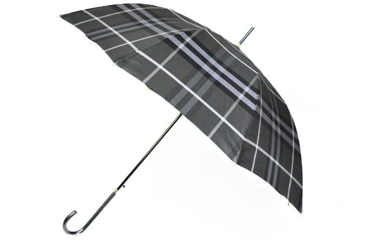 バーバリー BURBERRY チェック がお洒落な レディース ケース付き 雨傘 (長傘)/ グレー 系 チェック かさ