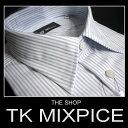 ●【XL】 THE SHOP TK MIXPICE ザ ショップ ティーケー ミクスパイス ストライプ長袖ドレスシャツ  白×ブルー