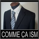 ★●【送料無料】/【あす楽対応!】【XL】コムサイズム COMME CA ISM/ストライプスーツ 高品質 Wool rich blend /濃紺 ck